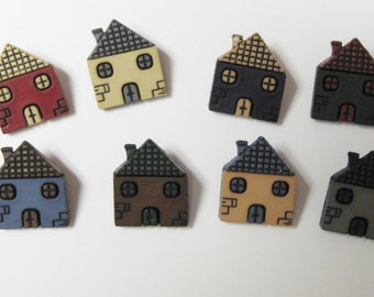 Houses  Buttons  Set of 8