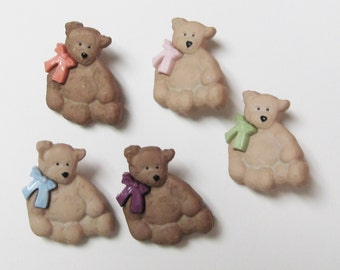Teddy Bears  Buttons  Set of 5