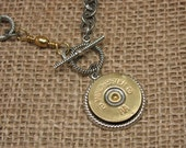 Shotgun Casing Jewelry - Bullet Jewelry - Brass 12 Gauge Shotgun Casing Toggle Medallion Mixed Metal Necklace - BEST SELLER for 4 Years!