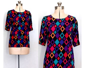 Vintage 80s Captivated by Diamonds Blouse