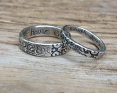 recycled silver tudor rose wedding band ring set . home is with you engraved rings . unique mens womens wedding bands . floral jewelry rings