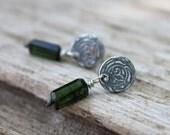 sterling silver and green tourmaline post earrings . recycled silver fleur de lis earrings . dangle gemstone post earrings . ready to ship