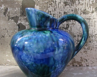 A Handpainted Stangle Pitcher in Mediterranean Blues and Greens