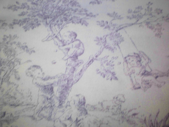 French toile 1 yd fabric drapery lavender children nursery for Upholstery fabric children