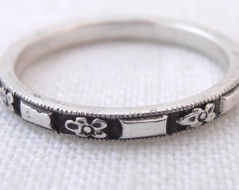 Orange Blossom Flower Oxidized Sterling Silver Wedding Band- by Chasing Jewelry Made to Order