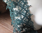 SALE Green Venise Lace Trim in Dark Green  for Bridal, Jewelry, Couture, Costumes CL 6053gr