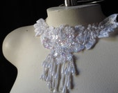 WHITE Fringe Beaded Applique for Lyrical Dance, Bridal, Costume Design, Tribal Fusion or Bellydance WA 676