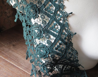 SALE Venise Lace Trim in Dark Green  for Bridal, Jewelry, Couture, Costumes CL 6053gr