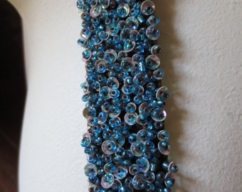 "12"" Beaded Trim  in Teal & Chocolate 1"" width for DIY Weddings, Bridal Sashes, Headbands, Crafting"
