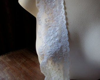 2 yds Stretch lace in Ivory  for Headbands, Garters, Lingerie STR 12iv