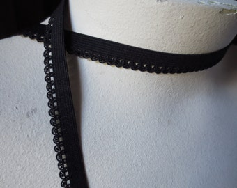 5 yds. Black Elastic Scalloped Edge Loop number 2 for Lingerie, Garments EL 220