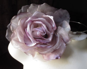 SALE Silk and Organza Rose in Lavender Purple for Bridal, Derby, Ascot, Bouquets, Sashes, Costumes MF 137- 4882