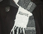 Women's Scarf. Handwoven Recycled Sari Silk Black and White.