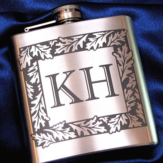 6 Gifts for Groomsmen Monogrammed Liquor Flasks, Personalized Gifts for Men