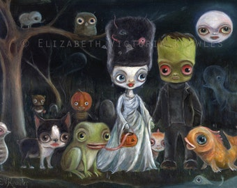 Frankenstein & Bride Wedding portrait, Pop Surrealism,  Big Eye, Cute Monsters, Halloween, Knowles., Print Size options available