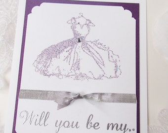 Will you be my...Card with white envelope-Handstamped- Inside stamped with Bridesmaid, Maid/Matron of Honor, or Flower Girl