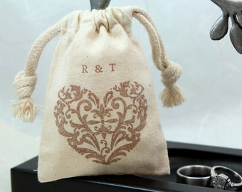 Personalized Heart Muslin Bags with custom Initials Set of 10 -  Available in 3x4 or 4x6 - Weddings, Showers, Favors
