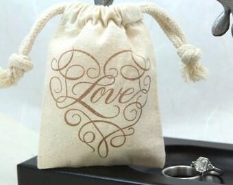 Muslin Favor Bags - Scroll Love Heart- Set of 100 - Weddings, Showers, Favors
