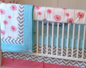 Crib Bedding Set Bumperless Coral Dandelion Aqua and Gray DEPOSIT