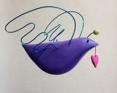 Purple Love Bird mobile