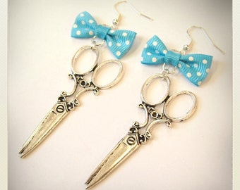 Pin up style Retro Vintage scissors earrings with turquoise bow