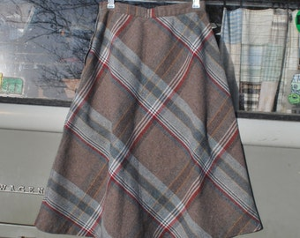 Vintage Brown Plaid Wool Skirt