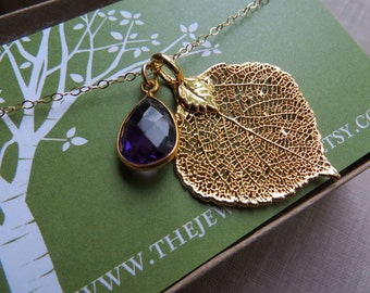 REAL Aspen leaf necklace with February birthstone, amethyst necklace, gold LEAF pendant, nature jewelry, birthday gift