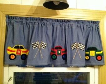 Handmade Race Car Valance on Denim