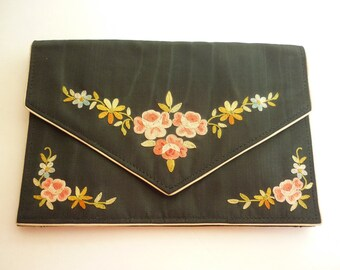 French Evening Bag Moire Envelope Clutch w Tambour Work 20s / 30s