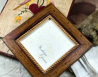 5x5 Rustic Brown Wood and Gold Photo Frame