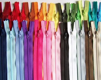 Zippers- SALE 50 Assorted 10 Inch YKK Closed Bottom Coil Zippers for Skirts, Dresses, Purses and More