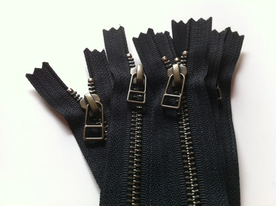 13 inch closed bottom YKK metal zippers with antique brass finish and DHR style pull- (5) pieces - Black Color 580