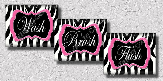 Zebra Bathroom Ideas : Pink Zebra Print Wall Art Bathroom Decor Print Wash Brush Flush 8x10 ...