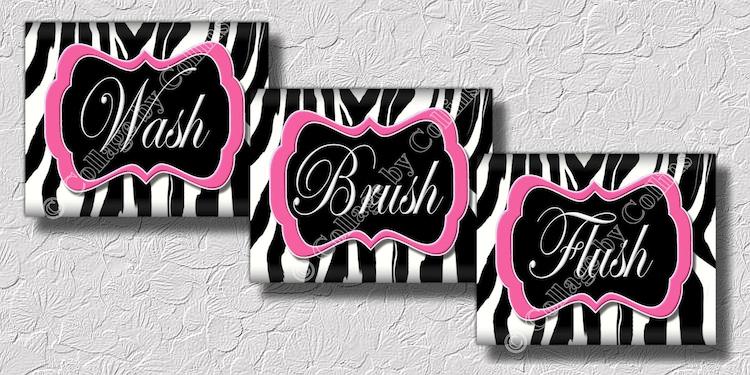 Pink Zebra Print Wall Art Bathroom Decor Print By