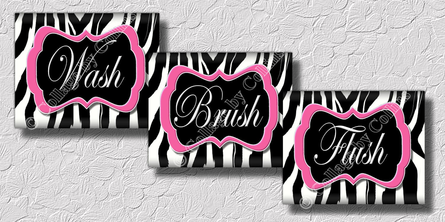 Pink zebra print wall art bathroom decor print wash brush for Bathroom ideas zebra print