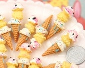Resin Cabochons - 13mm Little Triple Scoop Ice Cream Cone Resin Cabochons - 6 pc set