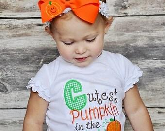 Girls Cutest Pumpkin in the Patch Shirt, Cutest Pumpkin Appliqued Shirt, Fall Appliqued Shirt, Girls Pumpkin Shirt