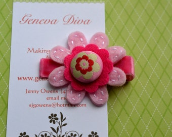 Shades of Pink Hand-Stitched Felt Flower Clip