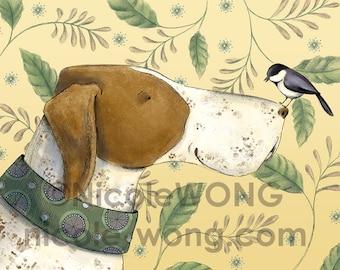 8x10 Original Digital Print  -- Pointer and the chickadee
