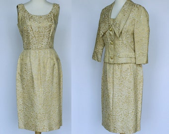60's Wiggle Dress and Jacket / Gold Tapestry / Brocade Suit / Small
