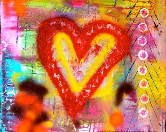 """Candy Heart 8""""x8"""" Mixed Media Art Print, Home Decorating, Art Print, Unframed Art"""