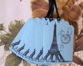Tags Eiffel Tower Paris French Gift Tags Price Tags Party Favor Treat Bag Tags T013