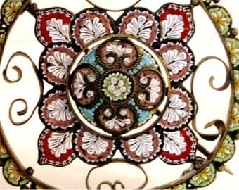 Antique rare signed micromosaic BROOCH Italian jewelry HUGE multi color pin amazing detail