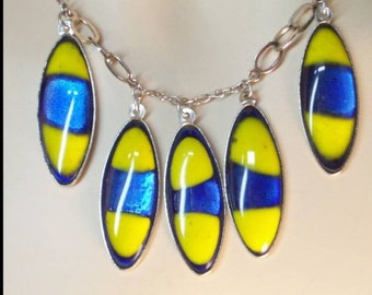 Vintage Enamel Fiery Festoon Drop necklace Blue yellow modernist jewelry