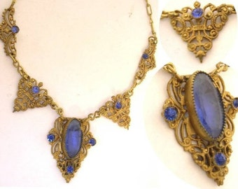 Antique Czech GLass filigree Victorian necklace