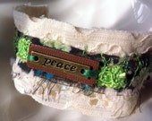 Peace Leather and Fabric Cuff