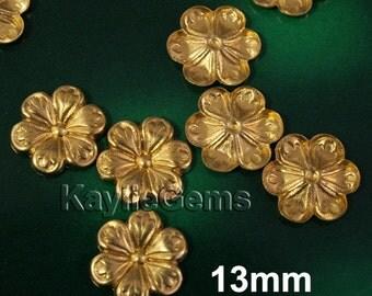 13mm Brass Cherry Blossom Stamping Premium Quality USA R3821 - 10pcs