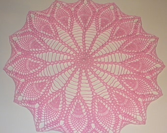 Pink Pineapple Doily With Frosted Edging - ready to ship - crocheted