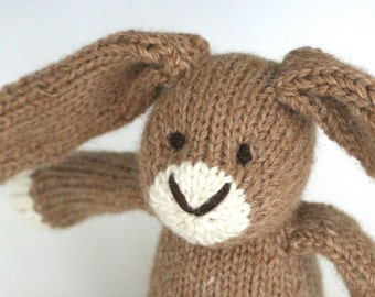 "Wheat Rabbit - Alpaca and Wool - Hand Knit Eco Friendly Stuffed Animal - Classic Toy Bunny, 11"" tall"