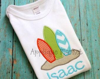 Machine Embroidery Design Applique Surf Trio INSTANT DOWNLOAD